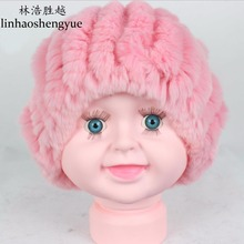Linhaoshengyue Fashion warm real fur Rex Rabbit fur children Hat  fur cap  winter warm  2 fur balls
