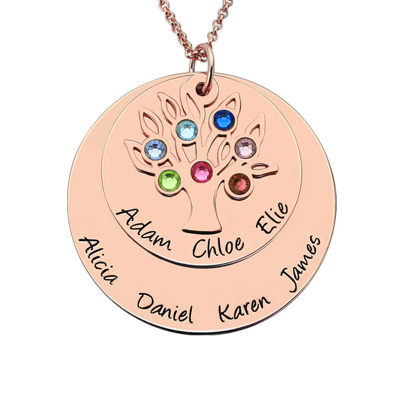 Personalized Family Tree Birthstone Mother Necklace Rose Gold Color Layered Disc Family Name Necklace Gift for Mom&Grandma engraved family tree bracelet with birthstones rose gold color disc mother