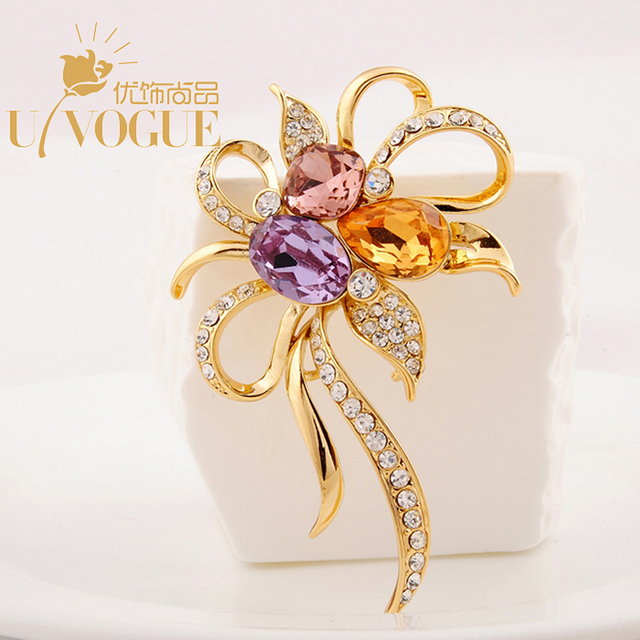 cf0ba64b6 New Design Color Crystal Flower Brooch Pins Top UVOGUE Brand Jewelry Gold  Plated Vintage Wedding Gift