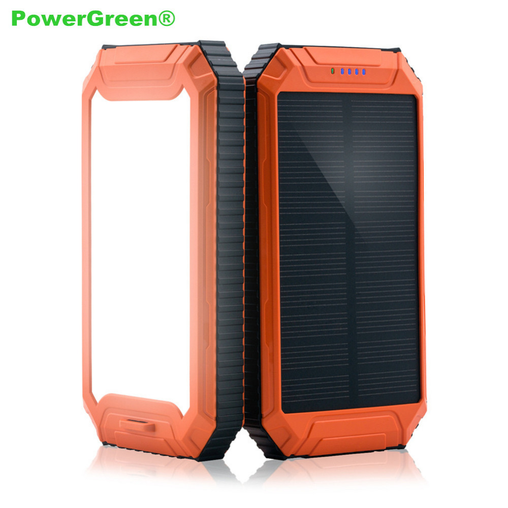 PowerGreen Solar Charger, Double Outputs LED Light Design 10000mAh External Battery Pack for All 5V DevicesPowerGreen Solar Charger, Double Outputs LED Light Design 10000mAh External Battery Pack for All 5V Devices