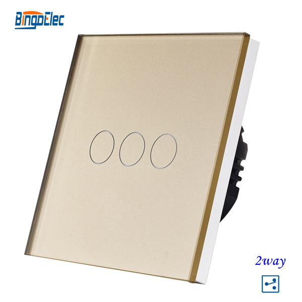 EU/UK Standard 3Gang 2Way Touch Switch Golden Crystal Glass Panel Wall Light Switch 110-240V AC,50-60hz, 86*86*35mm makegood uk standard 2 gang 1 way smart touch switch crystal glass panel wall switch ac 110 250v 1000w for light led indicator
