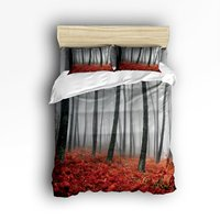 Bedding Set Mystic Foggy Forest Trees Red Grass Modern Art Print Duvet Cover Set Bedspread for Teens/Adults, 4 Piece