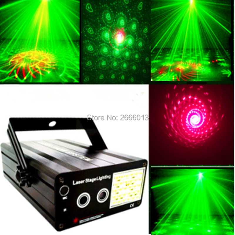 300mw RG Laser+ LED White Strobe Stage Lighting ,48 Patterns Mini Laser Projector Effect Show For KTV DJ Disco Party Xmas Lights