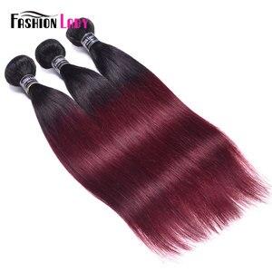 Image 3 - Fashion Lady Per colored Brazilian Straight Hair 3/4 Bundle 1b/99j Ombre Human Hair Extensions Non remy Hair Weave Bundles