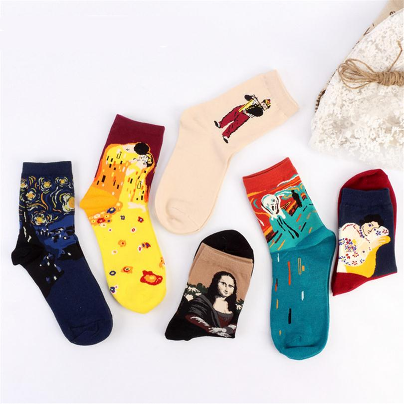 CUHAKCI European 3D Painting Art Socks Mona Lisa Printed Women Cotton Socks Sky Star Pure Warm Long Socks Calcetines Gift W029 ...