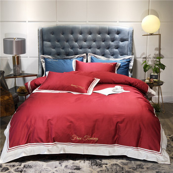 100% egyptian Cotton red green pink Bedding Set queen king size adults Duvet cover Bed sheets/fit sheet  set for wedding gift