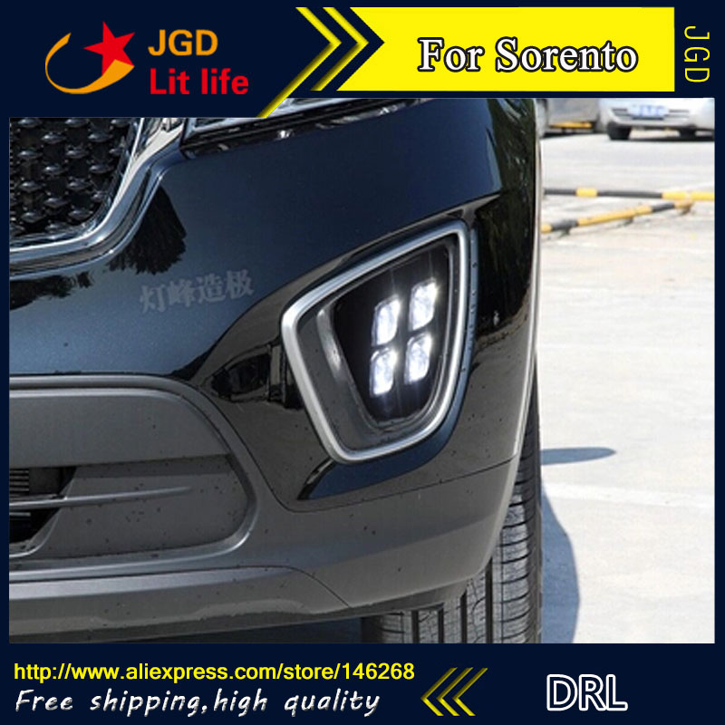 Free shipping ! 12V 6000k LED DRL Daytime running light for Kia Sorento 2015 2016 fog lamp frame Fog light Car styling wljh 2x car led 7 5w 12v 24v cob chip 881 h27 led fog light daytime running lamp drl fog light bulb lamp for kia sorento hyundai