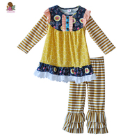 Factory Selling New Arrival Fall  Kids Clothes Girls Set Striped Yellow Dress Multilayer Ruffle Pants Baby Remake Outfits F160