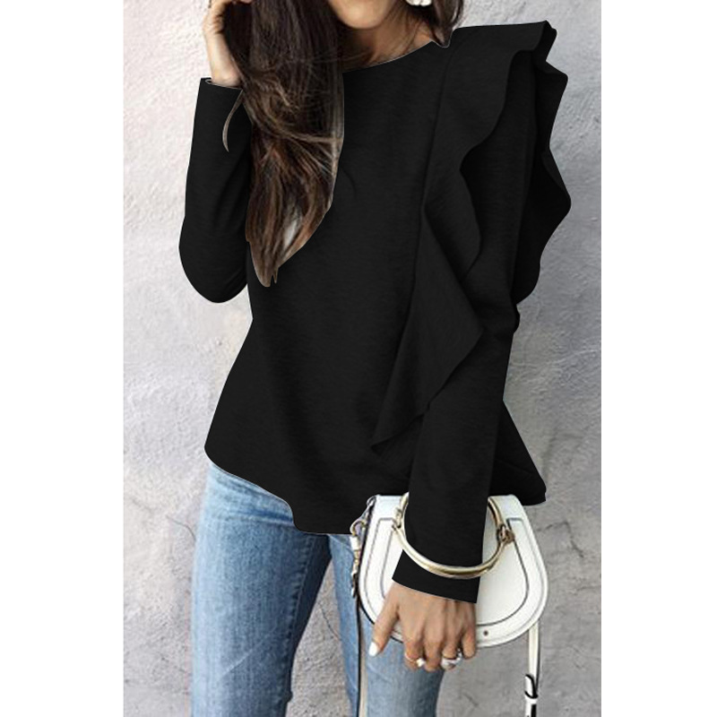 Pullover Women Autumn Casual Fashion Long Sleeve With Ruffle Edge Sweatshirt Solid Simple Tops Hoodies Women Knitted Clothing