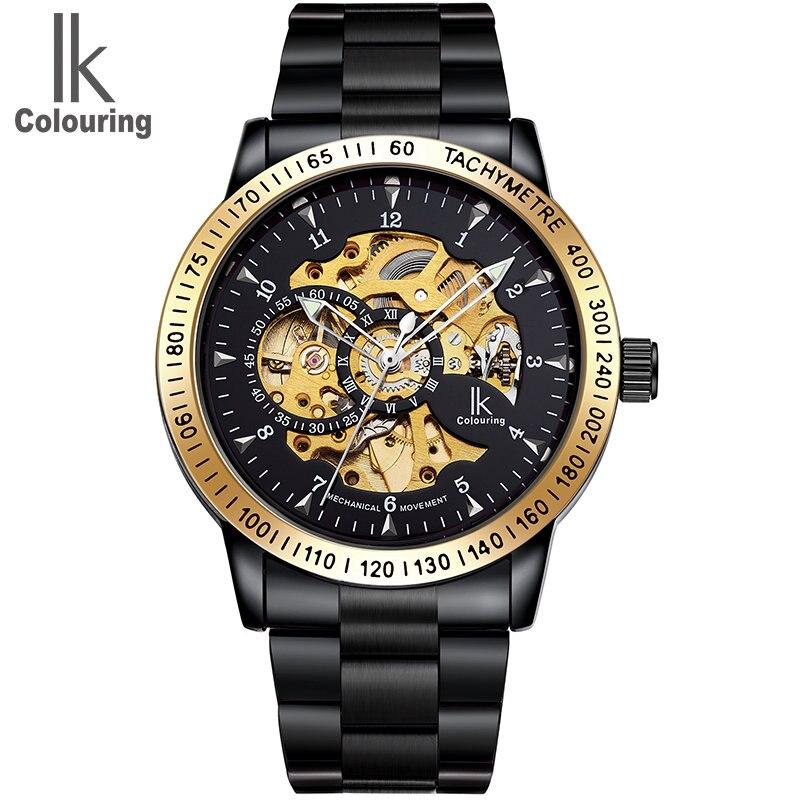 IK 2017 Luxury Wristwatch Men's Skeleton Dial Gears Horloge Auto Mechanical Original Watch Box Free Ship ik 2017 luxury men s relogio masculino skeleton dial horloge auto mechanical wristwatch original box free ship