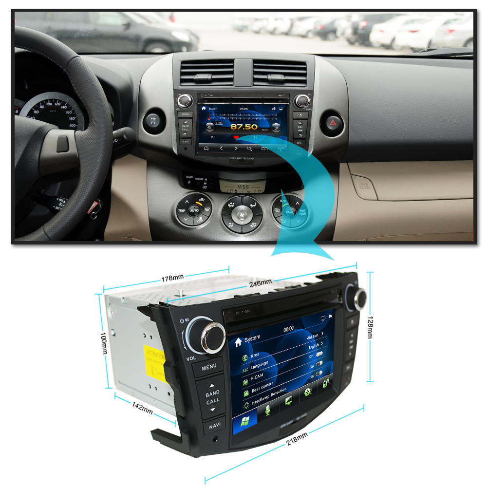 Flash Deal Eunavi Car DVD Player 2Din Car Radio For Toyota RAV4 2006 2007 2008 2009 2010 Steering Wheel control Touch screen GPS Navigation 1