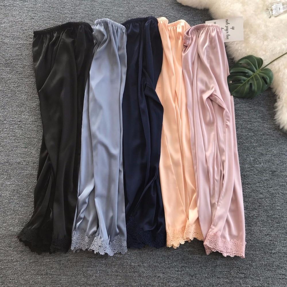 Women\\'S Sleep And Lounge Wears Women Bottoms Summer Faux Silk Pajama Pants Black/Pink Sleeping Pants