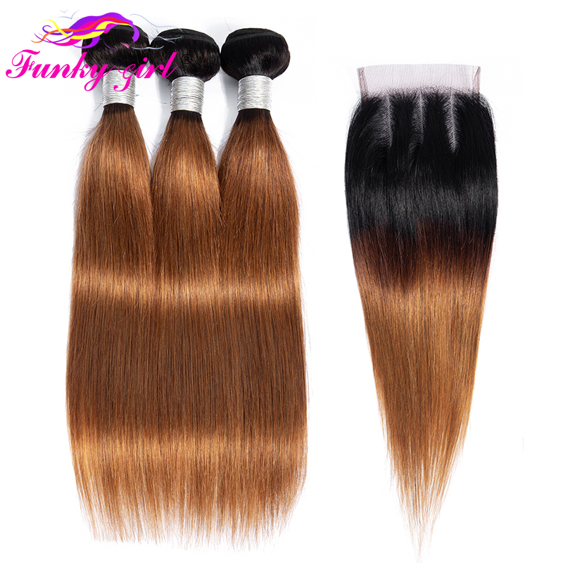 Funky Girl Brazilian Straight Human Hair Weave Bundles With 4 4 Lace Closure T1B 30 Non