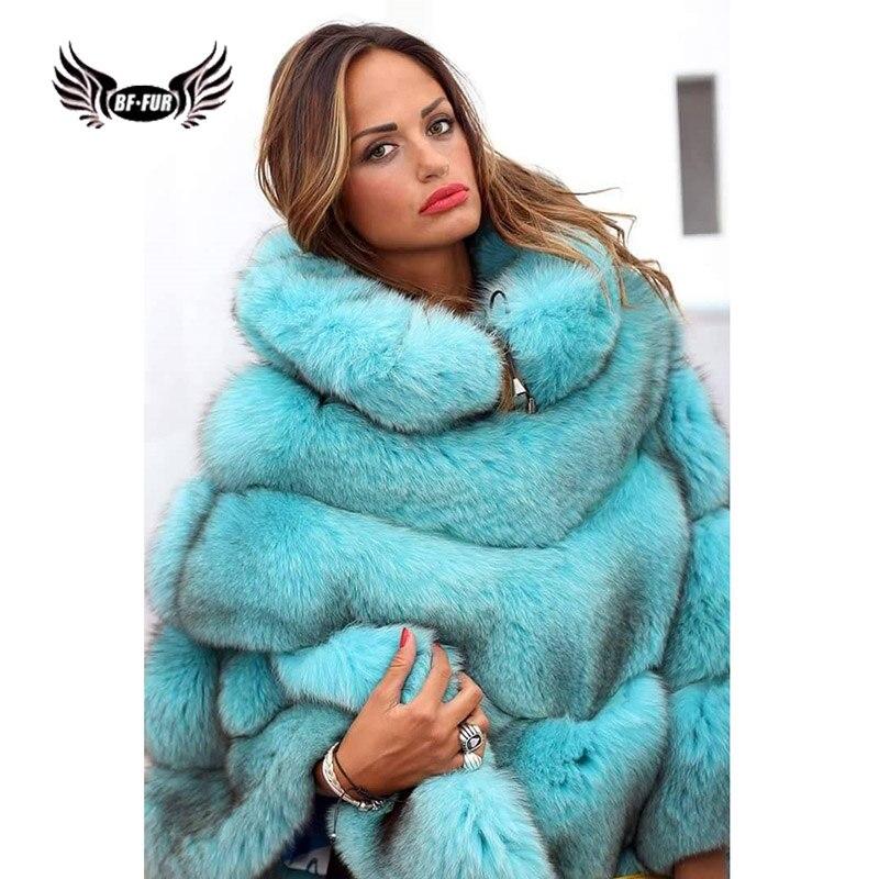 Шуба BFFUR из натурального меха лисы для женщин, шуба из натурального меха высокого качества, пончо и накидки из цельной кожи, женские зимние м...