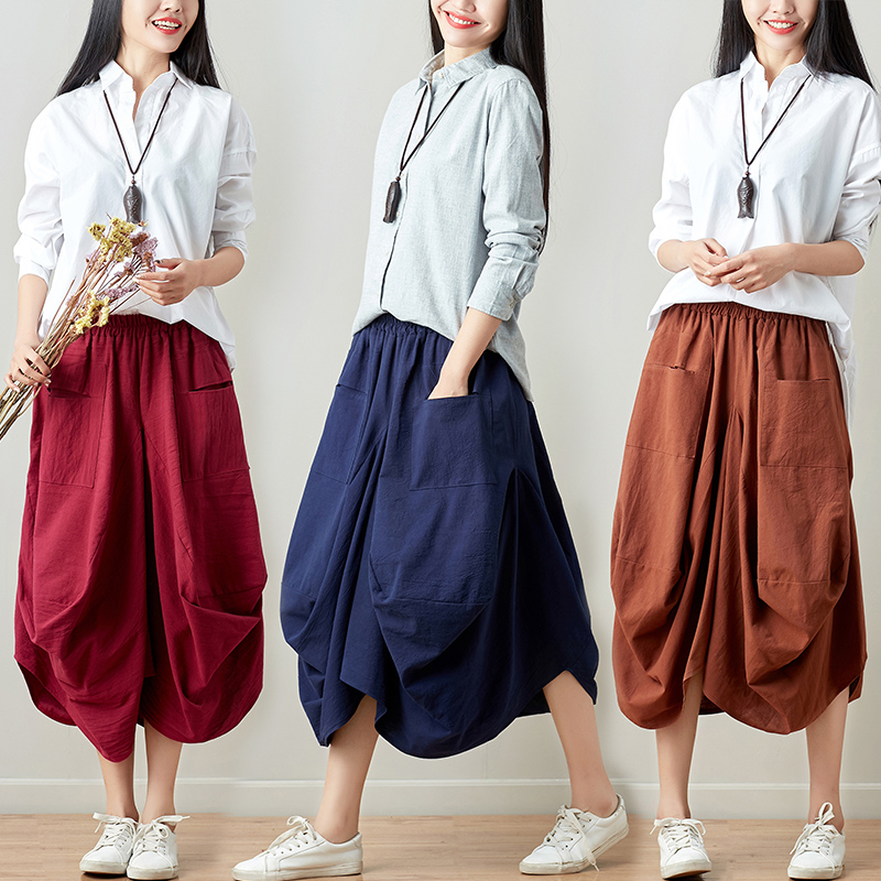 2019   Pants   Women Elastic Waist Cotton Linen Streetwear Oversized Harem   Pants   Baggy Casual Loose   Wide     Leg     Pants   Trousers