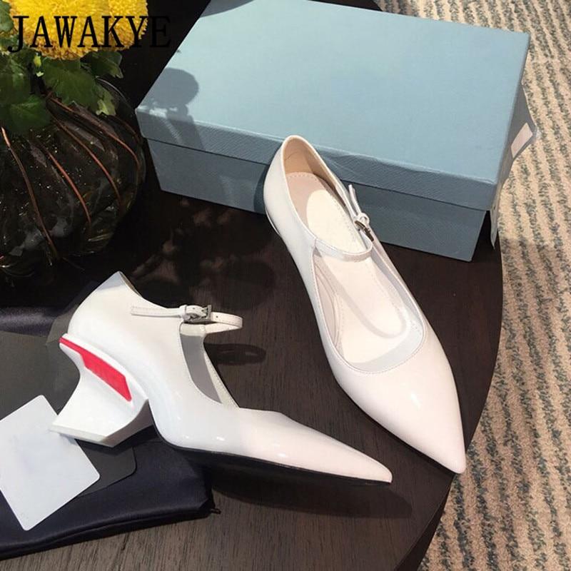 Mariage Dames Boucle Verni Soirée Femme red Piste Pour Chaussures Hauts Cuir Étrange En White Sangle Talons Pointu black Femmes De 2019 Bout Pompes qxUaC66