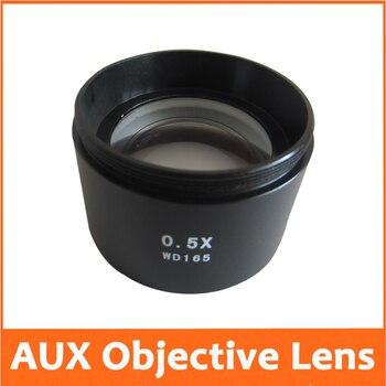 Yeni 0.5X Güç Barlow AUX Yardımcı Eki Objektif Lens Stereo Mikroskop Aksesuarları Montaj Aksesuarı M48 * 0.75 W.D = 165 MM