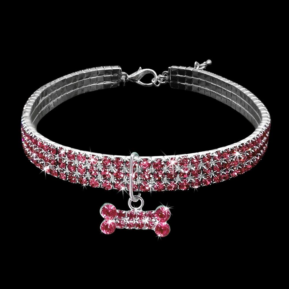 collier pour chien rose avec cristal