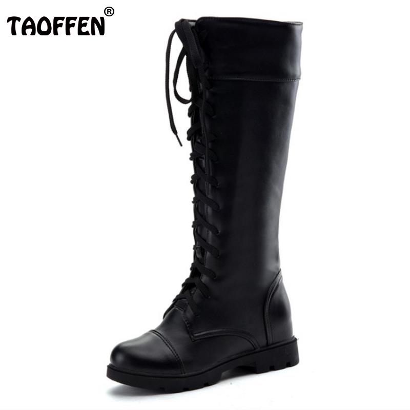 TAOFFEN New Fashion Women's Boots Lace Up Knee High Boots Women Martin Boots Flats Casual Punk Footwear Shoes Woman Size 34-43 girls fashion punk shoes woman spring flats footwear lace up oxford women gold silver loafers boat shoes big size 35 43 s 18
