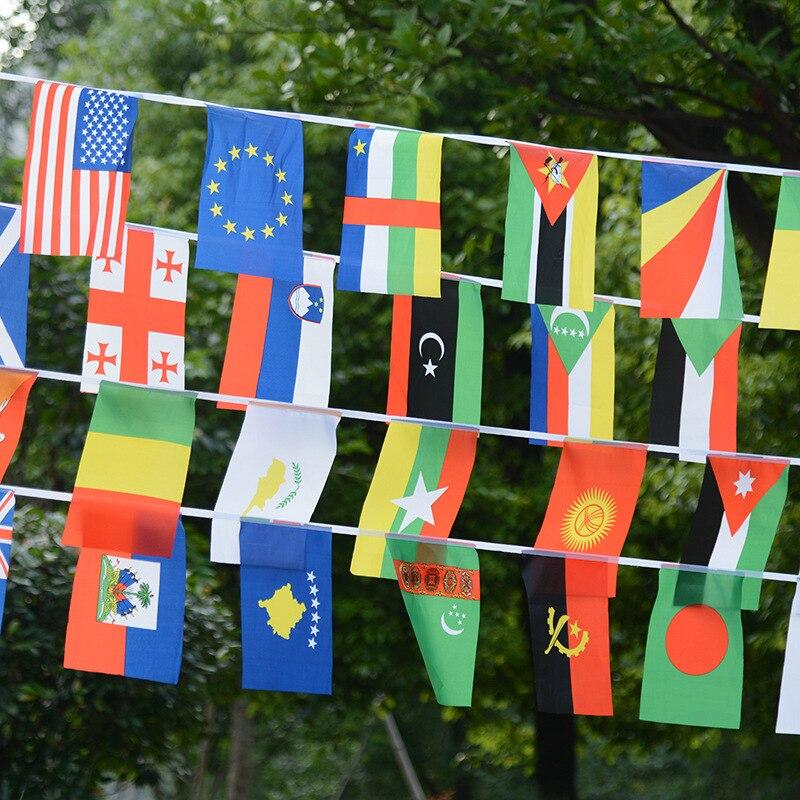 14 * 21cm 문자열 플래그 세계 각국 100 개국 깃발 작은 깃발, 유럽 컵 바 플래그를 걸고 올림픽 게임