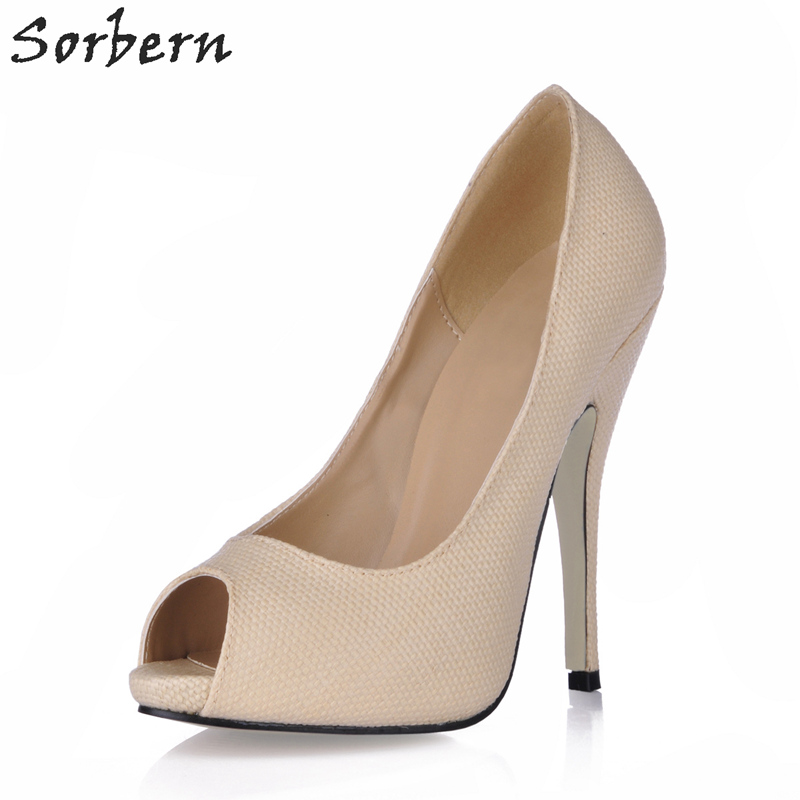 Sorbern 2018 Shoes Pumps Women Shoes Woman Party Shoes Women Spring Fashion Designer Ladies Party Shoes Peep Toe Slip On ladies handmade fashion yuoyuo 85mm peep toe slip on office party pumps shoes cke092
