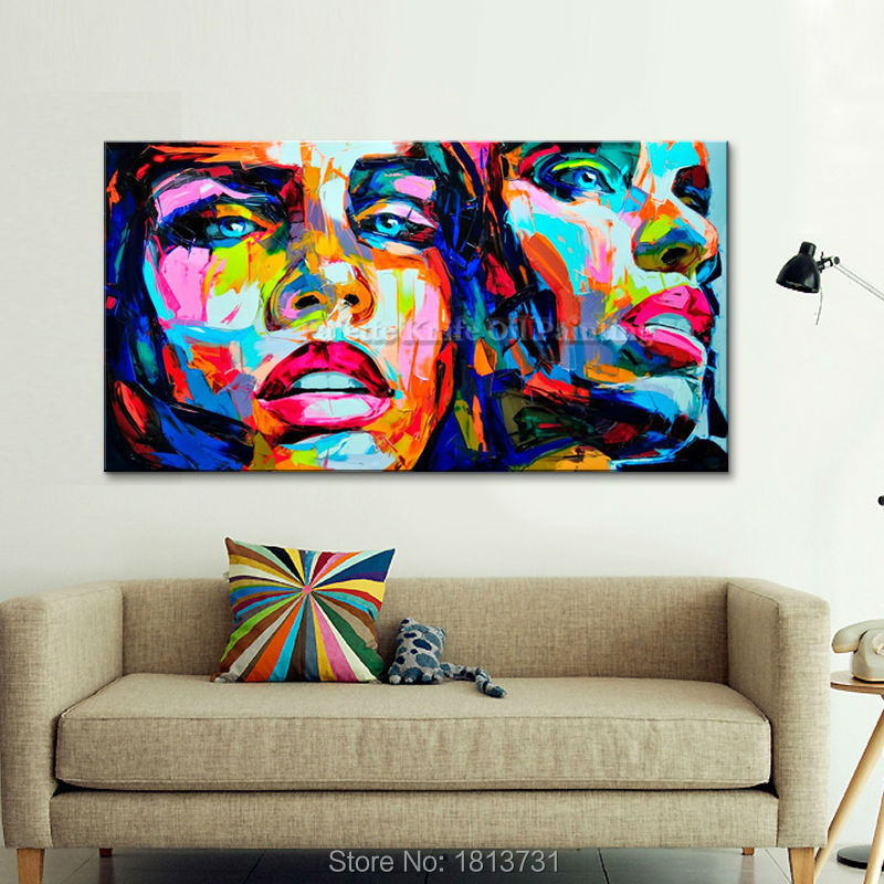 Palettknivmålningsporträtt Ansikte Oljemålning Impasto figur på - Heminredning - Foto 3