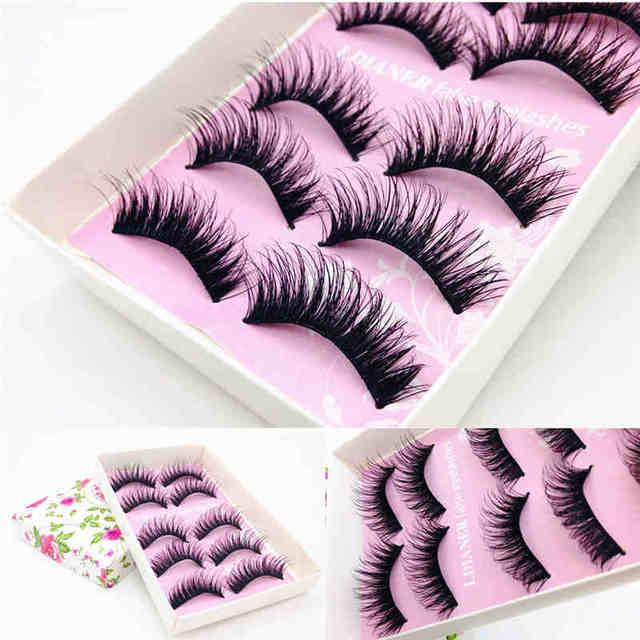 5 pares de pestañas magnéticas de moda Natural hecho a mano pestañas negras falsas boda maquillaje gota envío 45 #