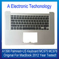 Original capa para apple macbook 15 ''top case palmrest a1398 mc975 mc976 laptop com teclado eua 2012 ano de substituição