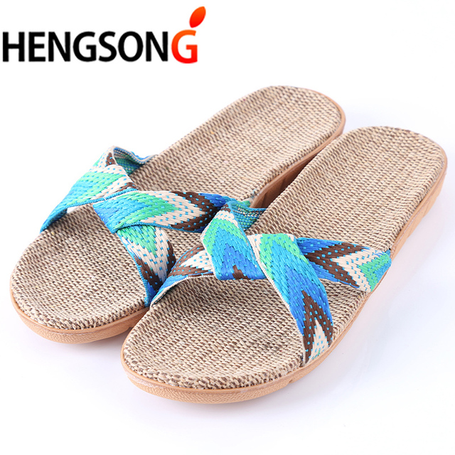 Summer Cross Belt Slippers Women Chain Slides Home Floor Shoes Flax Cross Belt Silent Sweat Slippers Female Sandals 1