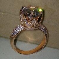 Thời trang Jewelry Solitaire Vận Chuyển 8ct Đá Quý 5A Zircon đá Rose Gold 925 Sterling Silver Women Engagement Wedding Nhạc Chuông