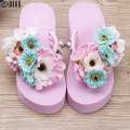 Sale top summer  fashion women handmade Flower  flip flops women casual comfortable wedges holiday candy color beach slippers