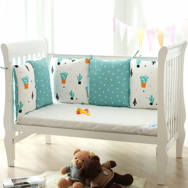 5 Pcs/Set Baby Bumper Removable Washable Breathable AB Color Baby Bumper Baby Chair Cushion Cotton Print Baby Bed Bumper Bedding