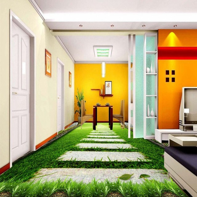 Free Shipping Custom 3D Stereo Spring Landscape Painting Floor Backdrop  Wallpaper Living Room Hotel Self