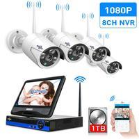 Hiseeu 10Inch Displayer 4pcs 960P 1080P Wireless CCTV IP Camera System 8CH NVR wifi video surveillance home Security System Kit