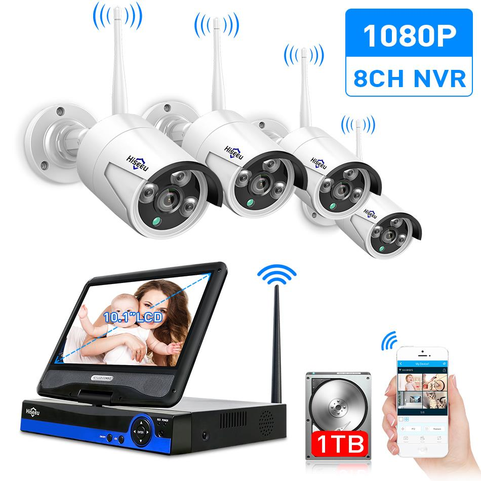 Hiseeu 10Inch Displayer 4pcs 960P 1080P Wireless CCTV IP Camera System 8CH NVR wifi video surveillance home Security System Kit