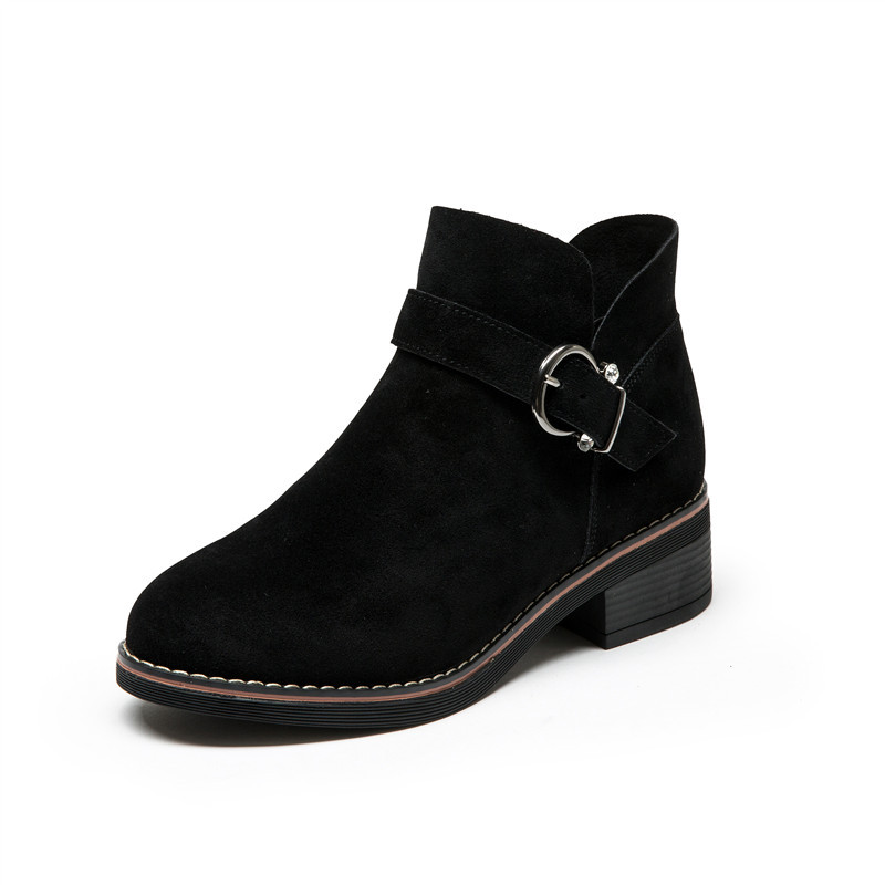2017 Winter New Plus Size 35-43 Women Shoes Frosted Thick Heels Round Toe Female Martin Ankle Boots 2017 new anti slip women winter martin