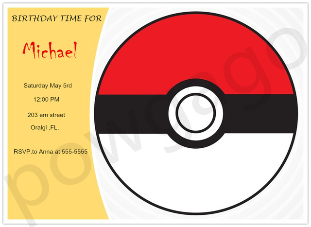 Customized Personalized Pokemon Go Party Invitations Pokeball