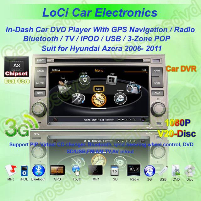 Hyundai Azera 2006- 2011 GPS Navigation DVD Player,Radio,TV,iPod,3G internet+Free gps map+ free rearview camera