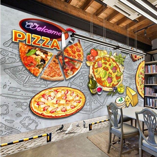 Photo Wallpaper Retro Pizza Western Restaurant Concrete