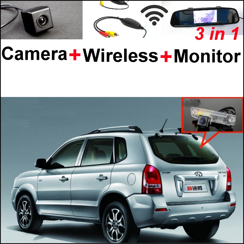 3 in1 Special Rear View Camera + Wireless Receiver + Mirror Monitor DIY Backup Parking System For Hyundai Tucson JM 2004-2010 3in1 diy for hyundai i25 i35 i45 wireless wifi bluetooth backup rear view reverse rearview camera camara