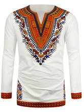 Купить с кэшбэком Hot New Dashiki Traditional African National Style Men's Long Sleeve Ethnic Printing T-Shirts 2017 Roupas Africanas Para Homens