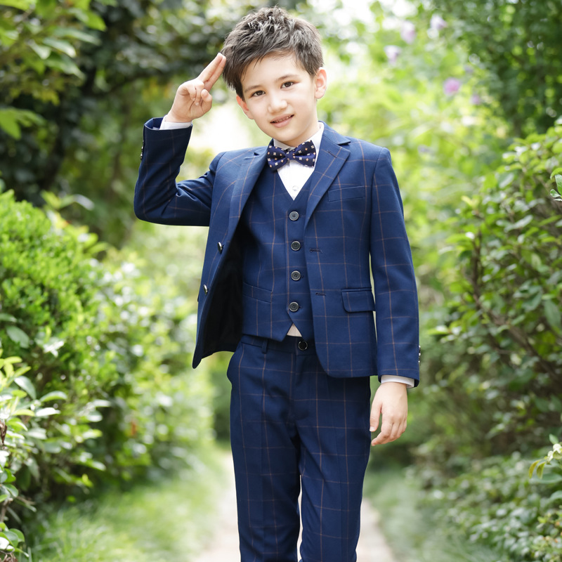 2018 new style children's fashion plaid suit jacket British wind casual boy performance performance dress suit 4pcs / set 4pcs plaid