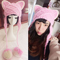 Very Cute Cat Ears Beanie Women Winter Warm Handmade Knitted Hat