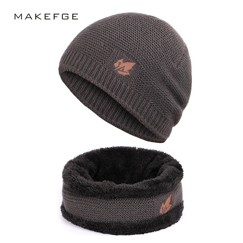 New Winter Men's Knitted Scarf, Hat & Glove Sets Warm Velvet Unisex Fashion Trend Brand Caps Maple Leaf Slouchy Beanie Skullies