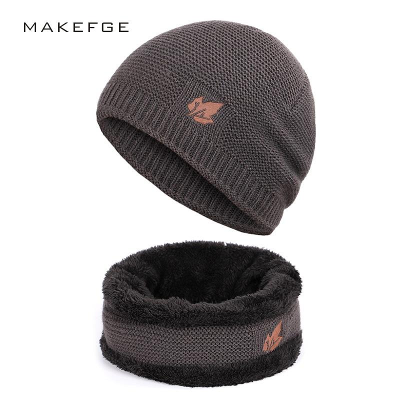 New Winter Men's Knitted Scarf, Hat & Glove Sets Warm Velvet Unisex Fashion Trend Brand Caps Maple Leaf Slouchy Beanie Skullies