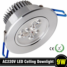 10pcs/lot 9W AC85V-265V LED Ceiling Downlight Recessed  Cabinet Wall Spot light Down Lamp With Driver