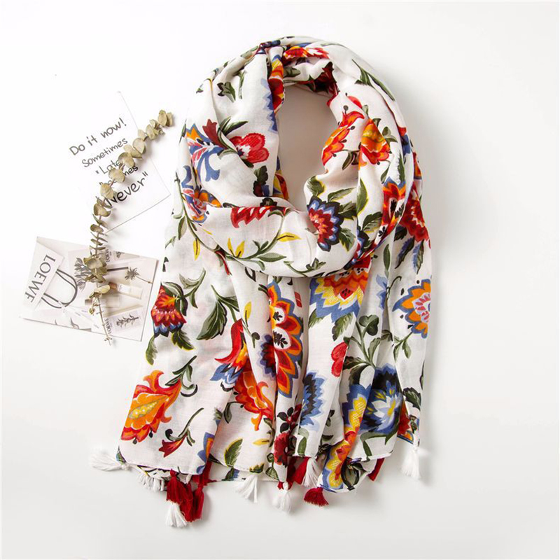 Women Fashion Colorful flower printing national style Viscose   Scarf   Tassel Shawls and   Wraps   Pashmina Bandana Muslim Hijab Sjaal