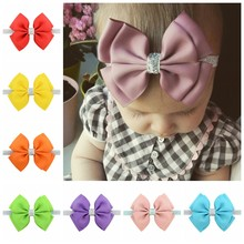 1 piece New Design kids Small Cute Bow Tie Headband Bow-knot Silver Ribbon Bow Elastic Hair Bands Hair Accessories 724(China)