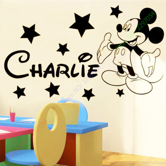 MICKEY Mouse Wall Stickers For Kids Rooms Custom Name Removable Vinyl Wall Sticker Home Decor Preschool Cartoon Wall Art 45x60CM