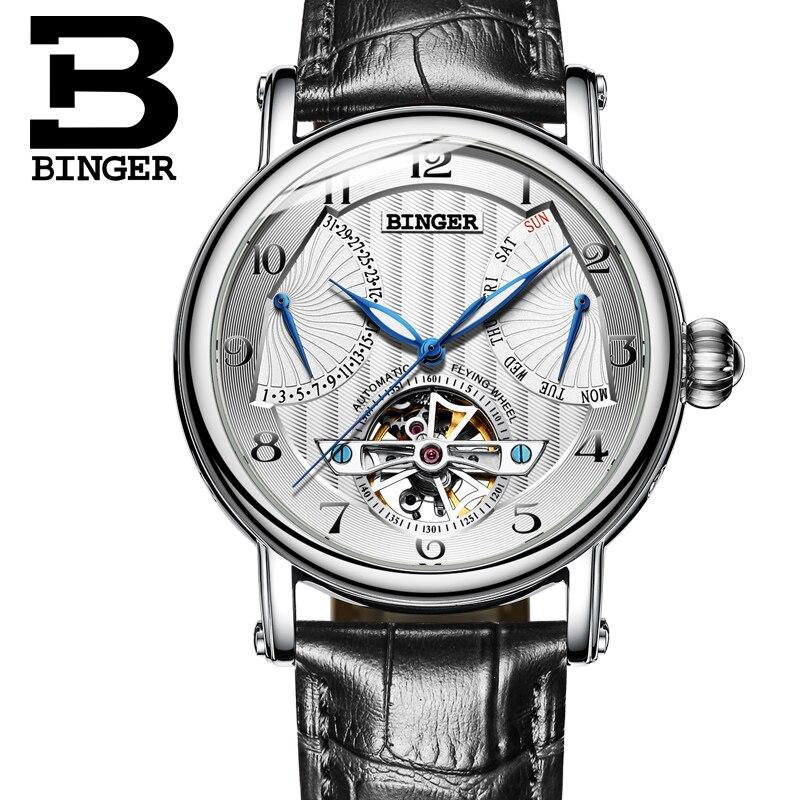 Marque de luxe BINGER Suisse Montres Hommes d'affaires saphir Résistant À L'eau bracelet en cuir Mécanique Mâle Montres B-1172